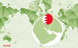 Centric de wereldkaart van Amerika met de overdreven kaart van Bahrein stock illustratie