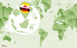 Centric de wereldkaart van Amerika met de overdreven kaart van Brunei vector illustratie
