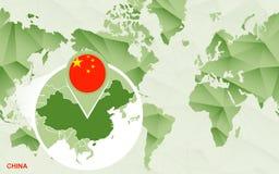 Centric de wereldkaart van Amerika met de overdreven kaart van China vector illustratie
