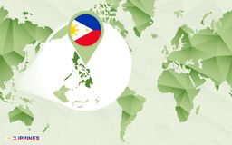 Centric de wereldkaart van Amerika met de overdreven kaart van Filippijnen royalty-vrije illustratie