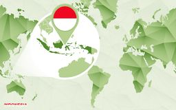 Centric de wereldkaart van Amerika met de overdreven kaart van Indonesië royalty-vrije illustratie