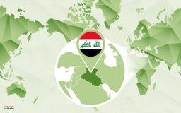 Centric de wereldkaart van Amerika met de overdreven kaart van Irak royalty-vrije illustratie