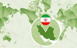 Centric de wereldkaart van Amerika met de overdreven kaart van Iran vector illustratie