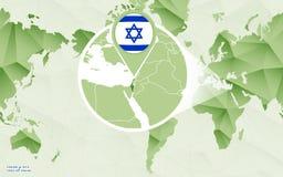 Centric de wereldkaart van Amerika met de overdreven kaart van Isra?l royalty-vrije illustratie