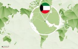 Centric de wereldkaart van Amerika met de overdreven kaart van Koeweit vector illustratie