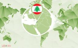 Centric de wereldkaart van Amerika met de overdreven kaart van Libanon vector illustratie