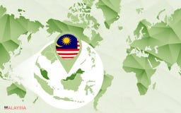 Centric de wereldkaart van Amerika met de overdreven kaart van Maleisië stock illustratie