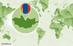 Centric de wereldkaart van Amerika met de overdreven kaart van Mongoli? stock illustratie