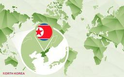 Centric de wereldkaart van Amerika met de overdreven kaart van Noord-Korea vector illustratie