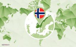 Centric de wereldkaart van Amerika met de overdreven kaart van Noorwegen stock illustratie