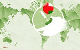 Centric de wereldkaart van Amerika met de overdreven kaart van Oman vector illustratie