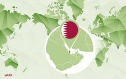 Centric de wereldkaart van Amerika met de overdreven kaart van Qatar stock illustratie