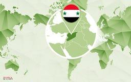 Centric de wereldkaart van Amerika met de overdreven kaart van Syri? vector illustratie