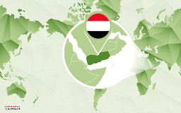 Centric de wereldkaart van Amerika met de overdreven kaart van Yemen stock illustratie