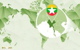 Centric de wereldkaart van Amerika met overdreven Myanmar kaart royalty-vrije illustratie