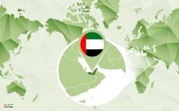 Centric de wereldkaart van Amerika met de overdreven Verenigde Arabische kaart van Emiraten vector illustratie