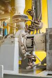 Centrifugal liquid transfer pump at oil and gas processing platform. Stock Photo