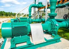 Centrifugal pump and motor. In power plant Royalty Free Stock Photos