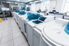 Centrifuge of Cobas system. Clinical lab Stock Image