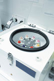 Centrifuge with pathology blood tubes for spinning Royalty Free Stock Photos