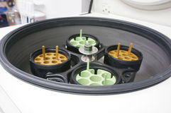 Centrifuge with test tube holders. Ultracentrifuge open and ready to be loaded with sample tubes Stock Photos
