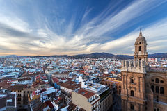 Centripetal acceleration - Malaga, Andalusia, Spain. View from the roof of bilding stock images