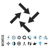 Centripetal Arrows Flat Vector Icon With Bonus. Centripetal Arrows vector bicolor icon. Image style is a flat iconic symbol, blue and gray colors, white Stock Photography