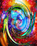 Centripetal circle shapes on abstract colorful cosmic. Centripetal circle shapes on abstract colorful cosmic royalty free illustration
