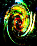 Centripetal circle shapes on abstract colorful cosmic. Green color. Royalty Free Stock Image