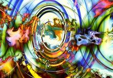 Centripetale cirkelvormen op abstracte kleurrijke kosmisch royalty-vrije illustratie