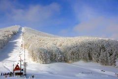 Centro alpestre de la nieve con el sol Fotografía de archivo libre de regalías