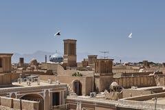 Centro antico della città di Yazd nell'Iran, architettura del mattone del fango fotografia stock