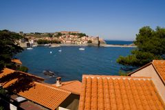 Centro balneare di Collioure Fotografia Stock Libera da Diritti