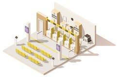 Centro basso isometrico di applicazione di visto di vettore poli illustrazione vettoriale