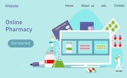 Centro clínico, farmacia en línea stock de ilustración