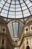 Centro comercial de Milán con la bóveda del techo Fotografía de archivo libre de regalías