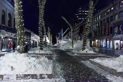 centro comercial en la noche - después de la caída de la nieve imagenes de archivo