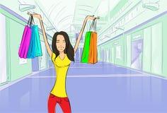 Centro commerciale di lusso moderno del negozio dei sacchetti della spesa della donna royalty illustrazione gratis