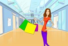 Centro commerciale di lusso moderno del negozio dei sacchetti della spesa della donna illustrazione di stock