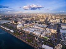 Centro commerciale di MP dell'Asia a Bay City, Pasay, Manila, Filippine Bello paesaggio urbano ed uno di più grande centro commer fotografie stock