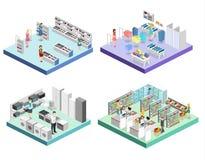 Centro commerciale interno isometrico, drogheria, computer, famiglia, deposito dell'attrezzatura royalty illustrazione gratis