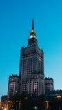 Centro da cidade com o palácio da cultura e da ciência Imagem de Stock Royalty Free