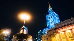 Centro da cidade com o palácio da cultura e da ciência Fotografia de Stock Royalty Free