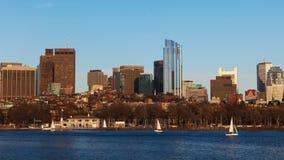 Centro da cidade de Timelapse Boston através do porto 4K video estoque