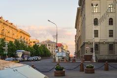 Centro da cidade na noite, Bielorrússia de Minsk imagem de stock