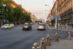 Centro da cidade na noite, Bielorrússia de Minsk imagem de stock royalty free