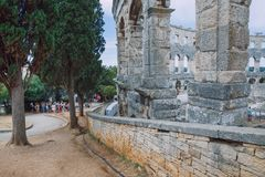 Centro da cidade velho dos Pula, Croácia Foto do curso imagem de stock royalty free