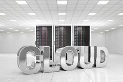 Centro dati con la nuvola del cromo Immagine Stock Libera da Diritti