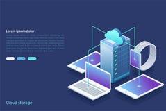 Centro dati Concetto di stoccaggio della nuvola, trasferimento di dati royalty illustrazione gratis