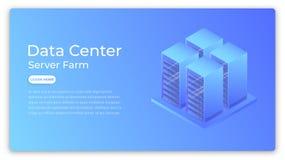 Centro dati Concetto isometrico della server farm di centro dati Progettazione dell'immagine moderna dell'eroe del centro dati Immagine Stock
